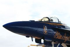 US military Blue Angels fighter plane at Florida Air Force base stock photo