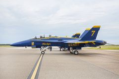 US Navy Blue Angels Hornet Fighter Jet Ready For An Air Show. At McDill Air Force Base in Tampa, Florida royalty free stock photo