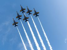 Free US Navy Blue Angels In Formation Ready To Perform A Flyby Royalty Free Stock Photography - 147656017