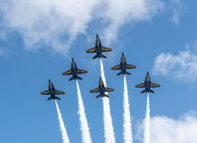 Free US Navy Blue Angels In Formation Ready To Perform A Flyby Royalty Free Stock Image - 147656586