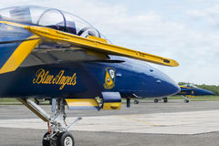 US Navy Blue Angels. May 24, 2014: The U.S. Navy Blue Angels at Republic Airport Farmingdale, New York, USA perform over Jones Beach during Memorial Day Weekend Royalty Free Stock Images