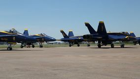 US Navy Blue Angels ready to fly. UA Navy Blue Angels  on Air Power Expo, Fort Worth TX USA 2016 stock footage