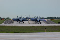 US Navy Blue Angels Taxiing In Formation Off the Runway In Milwaukee. US Navy Blue Angels Taxiing Off The Runway In Milwaukee Royalty Free Stock Photos