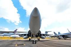 US Navy Boeing F/A-18E/F Super Hornet fighter on display at Singapore Airshow Stock Photography