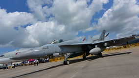 US Navy Boeing F/A-18E/F Super Hornet fighter on display at Singapore Airshow Royalty Free Stock Photos