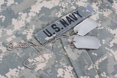 Free Us Navy Camouflaged Uniform With Blank Dog Tags Stock Images - 122448734