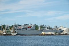 US Navy cargo ship. Bremerton, WA, USA Sept 04, 2017: USNS Fisher, a Bob Hope class vehicle cargo ship in drydock for repairs and maintenance at Puget Sound Stock Photos