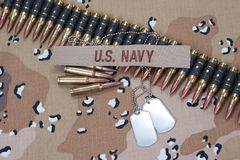 US NAVY concept on camouflage uniform Royalty Free Stock Photography