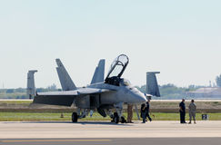 US Navy fighter preparing for flight Stock Photography