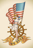 US Navy girl. Old-school US NAVY tattoo of a pin-up lady with the flag in her hand. Editable vector illustration Royalty Free Stock Photography