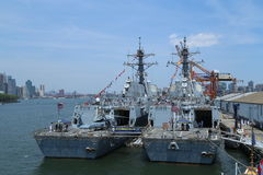 US Navy guided-missile destroyers USS Bainbridge and USS Farragut docked in Brooklyn Cruise Terminal during Fleet Week 2016 Stock Image