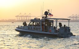 US NAVY inshore security patrolling in port of Djibouti. GULF OF ADEN, REPUBLIC OF DJIBOUTI FEBRUARY 06, 2016: US NAVY inshore security patrolling in port of Royalty Free Stock Image