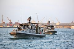 US NAVY inshore security patrolling in port of Djibouti. GULF OF ADEN, REPUBLIC OF DJIBOUTI FEBRUARY 06, 2016: US NAVY inshore security patrolling in port of Stock Photography