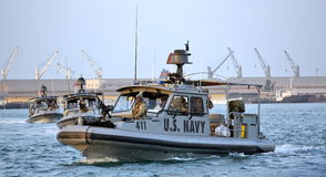 US NAVY inshore security patrolling in port of Djibouti Royalty Free Stock Photo