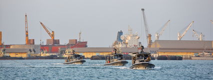 US NAVY inshore security patrolling in port of Djibouti Stock Image