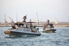 US NAVY inshore security patrolling in port of Djibouti Stock Photos