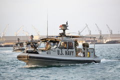 US NAVY inshore security patrolling in port of Djibouti Stock Photo