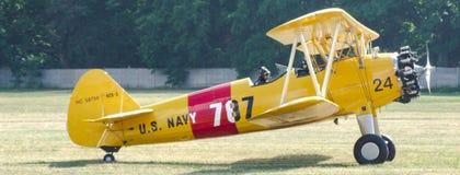 US Navy/Quax Boeing A75-N1/N2S-3 Stearman PT-17 biplane aircraft. Old timer aircraft US Navy / Quax Boeing A75-N1 / N2S-3 Stearman PT-17 preparing for take-off Stock Images