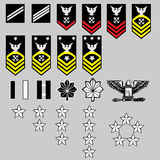 US Navy Rank Insignia. Vector set of US Navy officer and enlisted rank insignia, stars, bars, and chevrons Stock Images