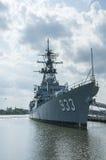 US Navy Ship anchored in the harbor of the Anacostia River Navy Yard, Washington, DC. US Navy Ship is anchored in the shallow harbor of the Anacostia River Navy Stock Images