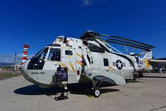 US Navy Sikorsky H-3 Sea King rescue helicopter on display at Pearl Habor Pacific Aviation Museum. OAHU - NOVEMBER 19: US Navy Sikorsky H-3 Sea King rescue royalty free stock photo