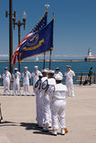 US Navy Soldiers at USS Illinois Ceremony Stock Photo