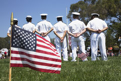 US Navy standing at ease at Los Angeles National Cemetery Annual Memorial Event, May 26, 2014, California, USA Royalty Free Stock Photo