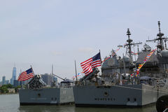 US Navy Ticonderoga-class cruisers USS San Jacinto and USS Monterey docked in Brooklyn Cruise Terminal during Fleet Week 2017. NEW YORK - MAY 28, 2017: US Navy Royalty Free Stock Photos