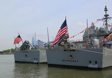 US Navy Ticonderoga-class cruisers USS San Jacinto and USS Monterey docked in Brooklyn Cruise Terminal during Fleet Week 2017. NEW YORK - MAY 28, 2017: US Navy Royalty Free Stock Photo