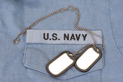 Us navy uniform with blank dog tags Royalty Free Stock Photo