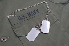 Us navy uniform with dog tags Royalty Free Stock Image