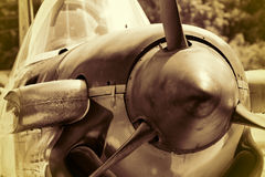 US Navy World War II T-34 Mentor trainer. This is a US Navy World War II T-34 Mentor trainer at a WWII veterans memorial in Priceville Alabama USA in sepia tones royalty free stock images