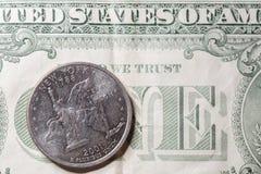 US New York Quarter on One Dollar Bill Stock Photos