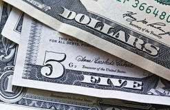 US notes focus on five dollars Royalty Free Stock Photos