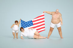 US obesity concept. 3d render United states obesity concept - fat family with flag Royalty Free Stock Images