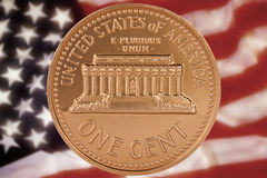 US One Cent Coin. The United States one-cent coin, commonly known as a penny, is a unit of currency equaling one one-hundredth of a United States dollar Royalty Free Stock Images