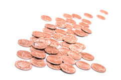 US One Cent Coins or Pennies. Copper pennies, one cent coins of the United States stock photography