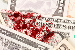 US one Dollar bill, close up, blood Stock Photos
