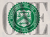 US one dollar bill closeup, 1 usd treasury seal, USA federal fed. Reserve note extreme macro, united states money closeup Royalty Free Stock Photos