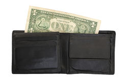 US one Dollar bill in a wallet, close up Stock Photo