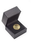 US one dollar coin in black gift box Stock Photos
