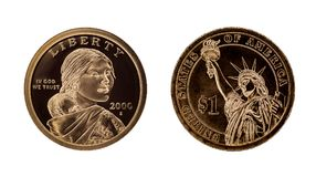 US one dollar coin - Sacagawea and Statue of Liberty Stock Photography