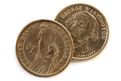 US One Dollar Coins Stock Photos