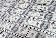 US one hundred dollar. Bills background Stock Photo