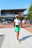 US Open Ambassador welcomes visitors at Billie Jean King National Tennis Center Royalty Free Stock Photography