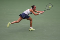 US Open 2015 champion Flavia Pennetta of Italy in action during her final match at US Open 2015 Royalty Free Stock Photo
