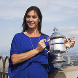 US Open 2015 champion Flavia Pennetta posing with US Open trophy on the Top of the Rock Observation Deck at Rockefeller Center Stock Photography