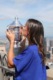 US Open 2015 champion Flavia Pennetta posing with US Open trophy on the Top of the Rock Observation Deck at Rockefeller Center Stock Photo