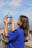 US Open 2015 champion Flavia Pennetta posing with US Open trophy on the Top of the Rock Observation Deck at Rockefeller Center Stock Images