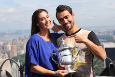 US Open 2015 champion Flavia Pennetta and tennis player Fabio Fognini posing with US Open trophy Royalty Free Stock Image